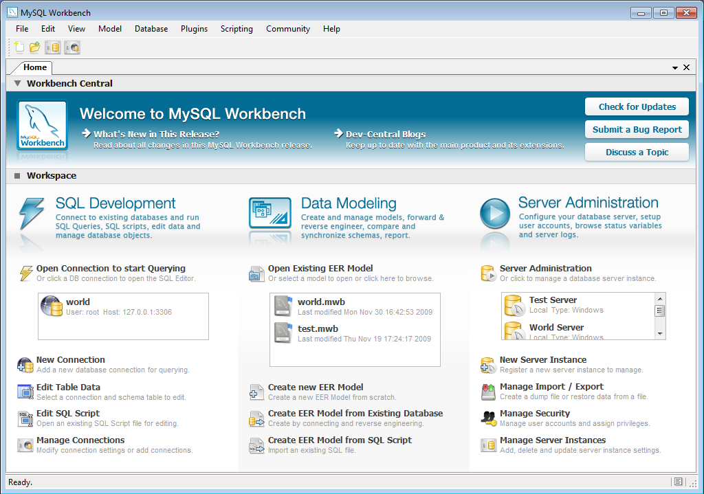 Screen shot of MySQL Workbench main screen